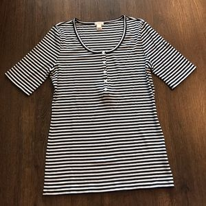 J Crew Factory Striped Henley Tee